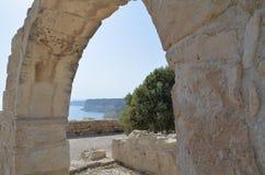 古老Kourion 老希腊曲拱废墟市Kourion利马索尔,塞浦路斯 库存图片