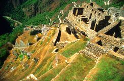 古老machu picchu废墟 免版税库存图片