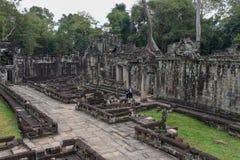 古老Preah可汗寺庙在吴哥 柬埔寨收割siem 库存照片