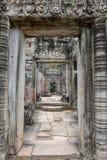 古老Preah可汗寺庙在吴哥 柬埔寨收割siem 免版税库存照片