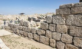 古老Susya城市墙壁在约旦河西岸 免版税图库摄影