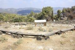古老Tel Tzora在全景区域在Eshtaol森林里 图库摄影