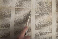 从古老torah纸卷关闭的人读书 免版税库存图片