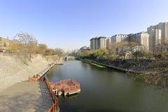 古老xian市的护城河公园 库存图片