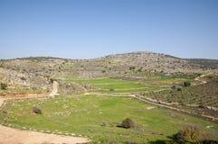 古老Yodfat站点, Yodfat土墩 库存照片