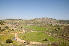 古老Yodfat站点, Yodfat土墩 库存图片