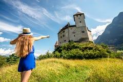 古腾堡城堡在列支敦士登 库存图片
