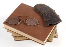 古色古香玻璃读 免版税库存照片