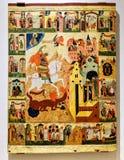 古色古香的东正教象,绘在老木板 免版税库存图片