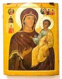 古色古香的东正教象 上帝Hodegetria, 19t的母亲 库存图片