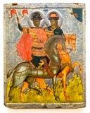 古色古香的东正教象 圣徒鲍里斯和Gleb,第14个c 免版税库存图片