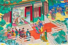 古色古香的中国壁画。 免版税库存照片