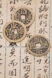 古色古香的书中国硬币页 免版税图库摄影
