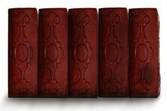 古色古香的书黑暗的老红色脊椎 库存图片