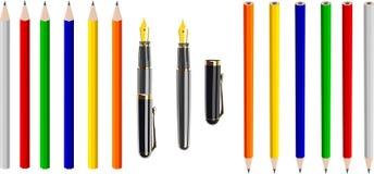古色古香的五颜六色的蜡笔钢笔向量 向量例证