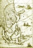 古色古香的亚洲国家(地区)映射老&# 免版税库存照片
