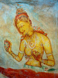 古色古香的亚洲壁画赤裸妇女 库存照片