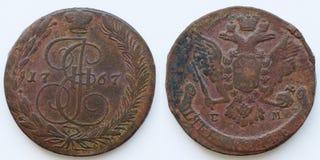 古色古香的俄国硬币5科比1767 免版税库存照片