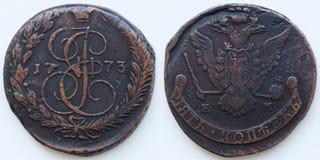 古色古香的俄国硬币5科比1773 库存图片