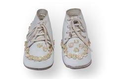 古色古香的儿童的鞋子 免版税库存照片
