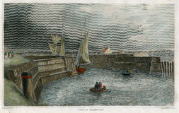 古色古香的利特尔汉普顿,港口场面英国1850 免版税库存照片