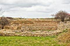 古色古香的剧院在Chersonese Taurian 免版税库存照片