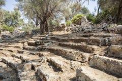 古色古香的剧院, Kedrai, Sedir海岛,海湾o的废墟 免版税库存图片
