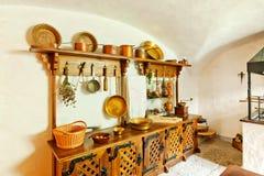 古色古香的厨房内部 免版税库存图片