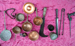 古色古香的厨房工具 免版税库存图片