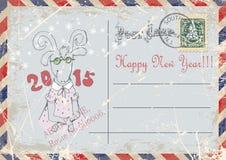 古色古香的可收帐的邮件对象明信片相关葡萄酒 山羊手图画  新年好 例证 免版税库存照片