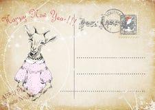 古色古香的可收帐的邮件对象明信片相关葡萄酒 山羊手图画  新年好 例证 免版税图库摄影