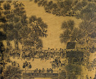 古色古香的国画丝绸 免版税库存图片