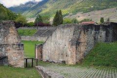 古色古香的圆形剧场 Martigny,瓦雷兹,瑞士 免版税库存照片