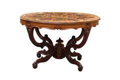 古色古香的圆的镶嵌细工桌 库存图片