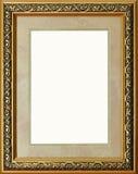 古色古香的土气框架金黄查出的照片 免版税库存照片