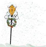 古色古香的圣诞节灯笼街道 免版税库存照片