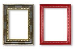 古色古香的在白色背景隔绝的框架和红色框架 图库摄影