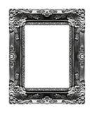 古色古香的在黑背景隔绝的图片灰色框架, clippin 免版税图库摄影
