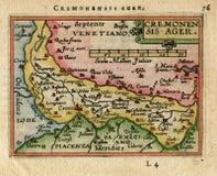 古色古香的地图Cremonsis老化 克雷莫纳 意大利 库存照片