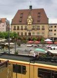 古色古香的城镇厅在海尔布隆在德国 库存图片