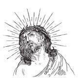 古色古香的基督板刻耶稣向量 图库摄影
