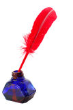 古色古香的墨水池笔红色 免版税库存照片