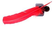 古色古香的墨水池笔红色 免版税库存图片