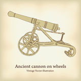 古色古香的大炮轮子 免版税库存图片