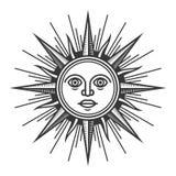 古色古香的太阳面对在白色背景的象 向量 库存例证