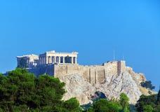 古色古香的寺庙帕台农神庙在上城,雅典 库存图片