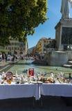 古色古香的市场5欧元stallPlace du Palais de正义 免版税图库摄影