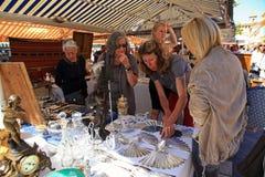 古色古香的市场Cours Saleya,尼斯,法国 免版税库存照片