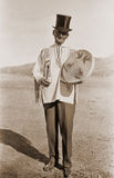 古色古香的帽子人照片顶层 库存图片