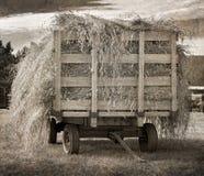 古色古香的干草无盖货车 免版税库存照片
